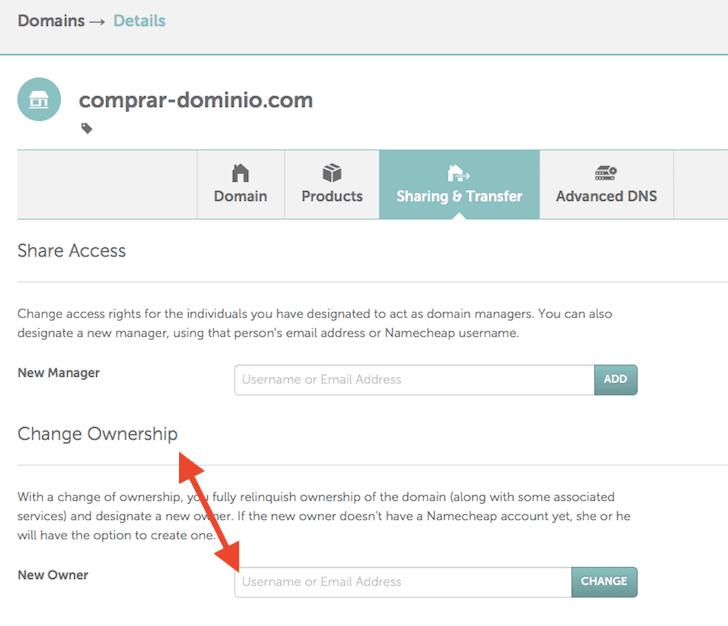 transferir dominios namecheap